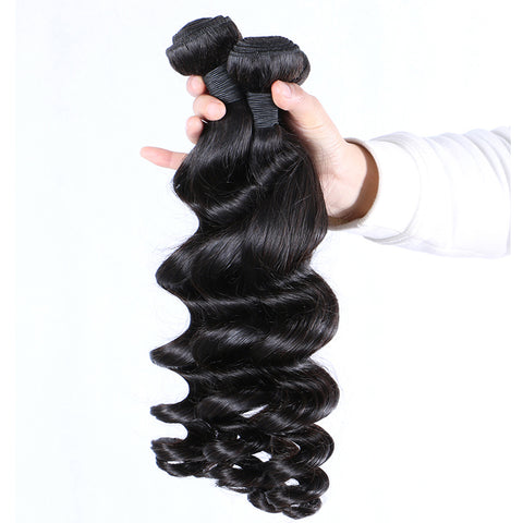 Brazilian Virgin Hair Weave Loose Wave Weft Human Hair Nautral Black Bundles 2pcs/lot