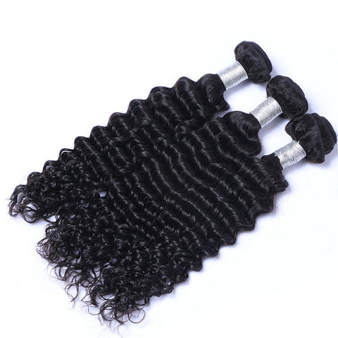 Virgin Brazilian Hair Weft Extension Deep Wave Natural Color Bundles Hair 3pcs/lot