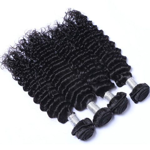 Brazilian Virgin Human Hair Weaving Deep Wave Weft Hair 4pcs/lot