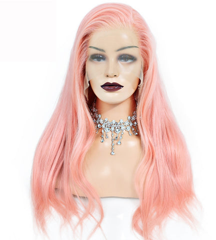 PINK Color Silky Straight Brazilian Virgin Human Hair Full Lace Wigs 130% Density
