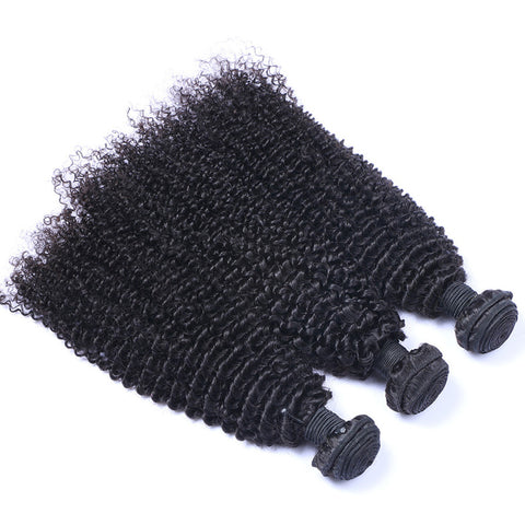 Virgin Brazilian Hair Weft Extension Kinky Curly Natural Color Bundles Hair 3pcs/lot