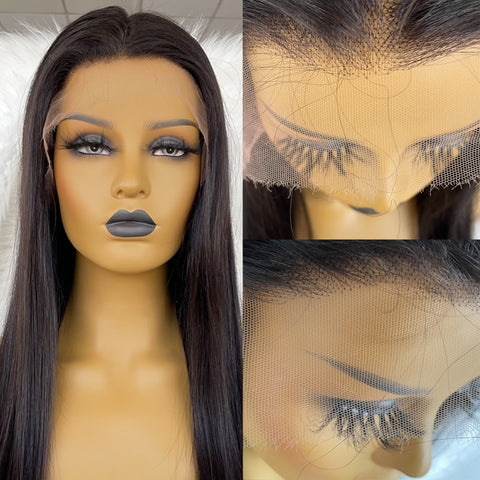Ubeautywig 13x6 Straight HD Lace Front Wig 150% Density Virgin Human Hair Wigs Invisible Lace Wig