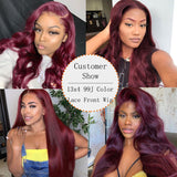 Ubeautywig 13x4 99J Color Red Burgundy Lace Front Wig 180% Density Virgin Human Hair Wigs Preplucked Hairline
