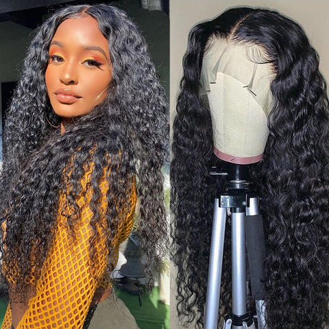 Ubeautywig 13x4 Curly Transparent Lace Front Wig 150% Density Virgin Human Hair Wigs Preplucked Hairline