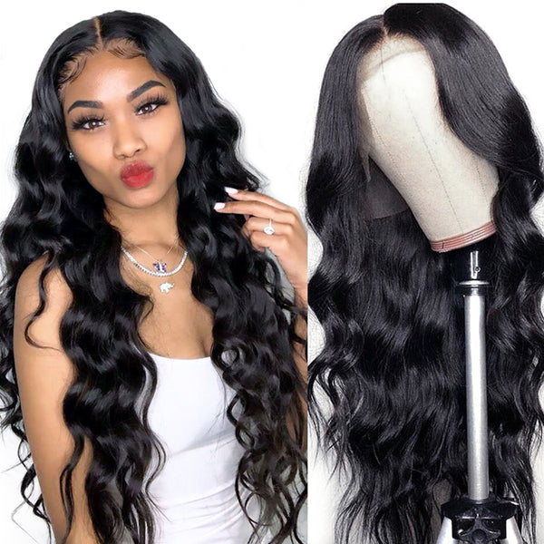 Glueless Body Wave Transparent Lace Front Wigs Preplucked Hairline With Baby Hair