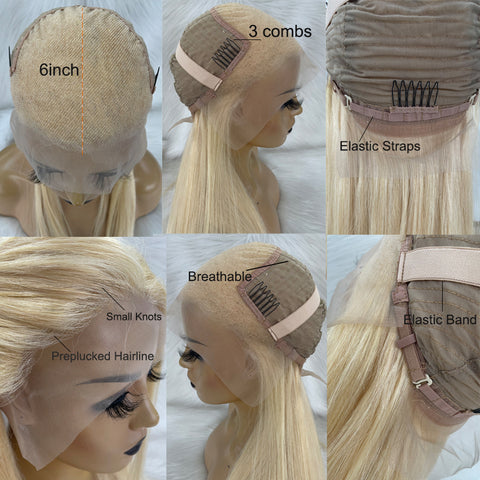 Ubeautywig 13x6 Transparent Blond Lace Front Wig 613 Color Human Hair Wig Virgin Hair Wig Preplucked Hairline