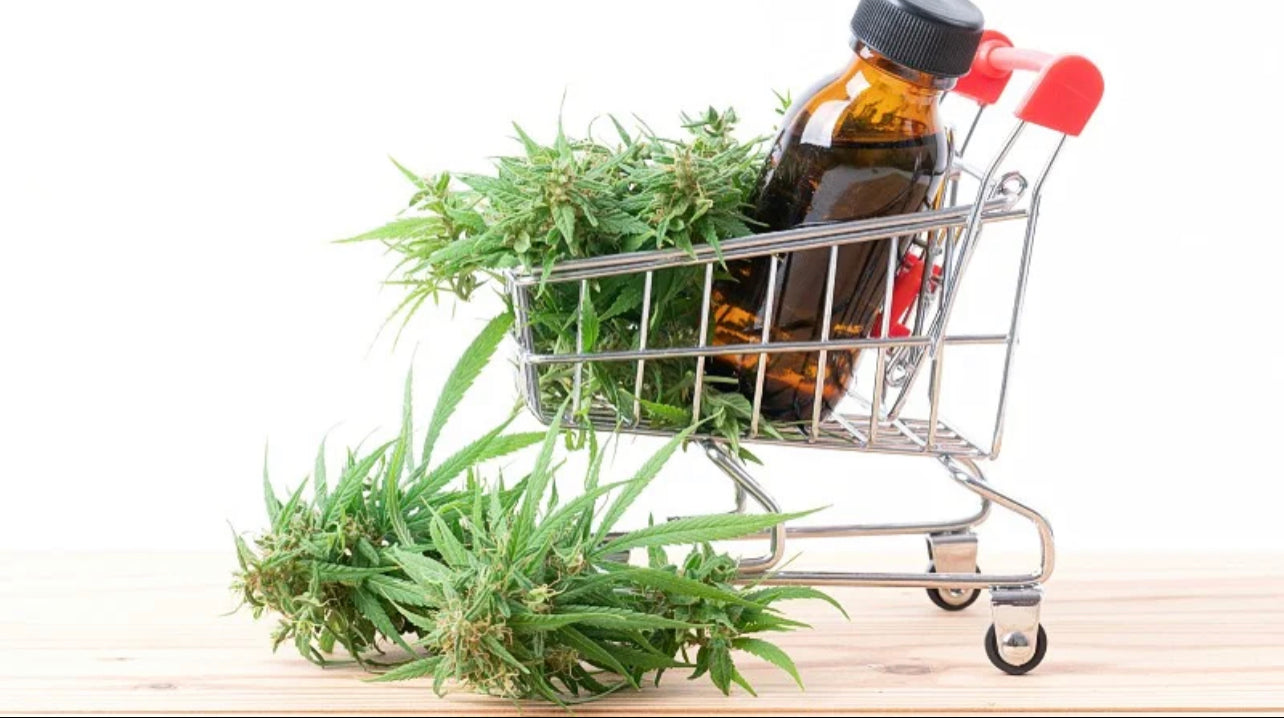 a shopping cart containing Delta8 extract in a bottle and hemp leaves