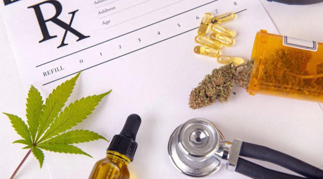 medical prescription with hemp leaf, d8 extract in a bottle, hemp buds, capsules and stethoscope on top