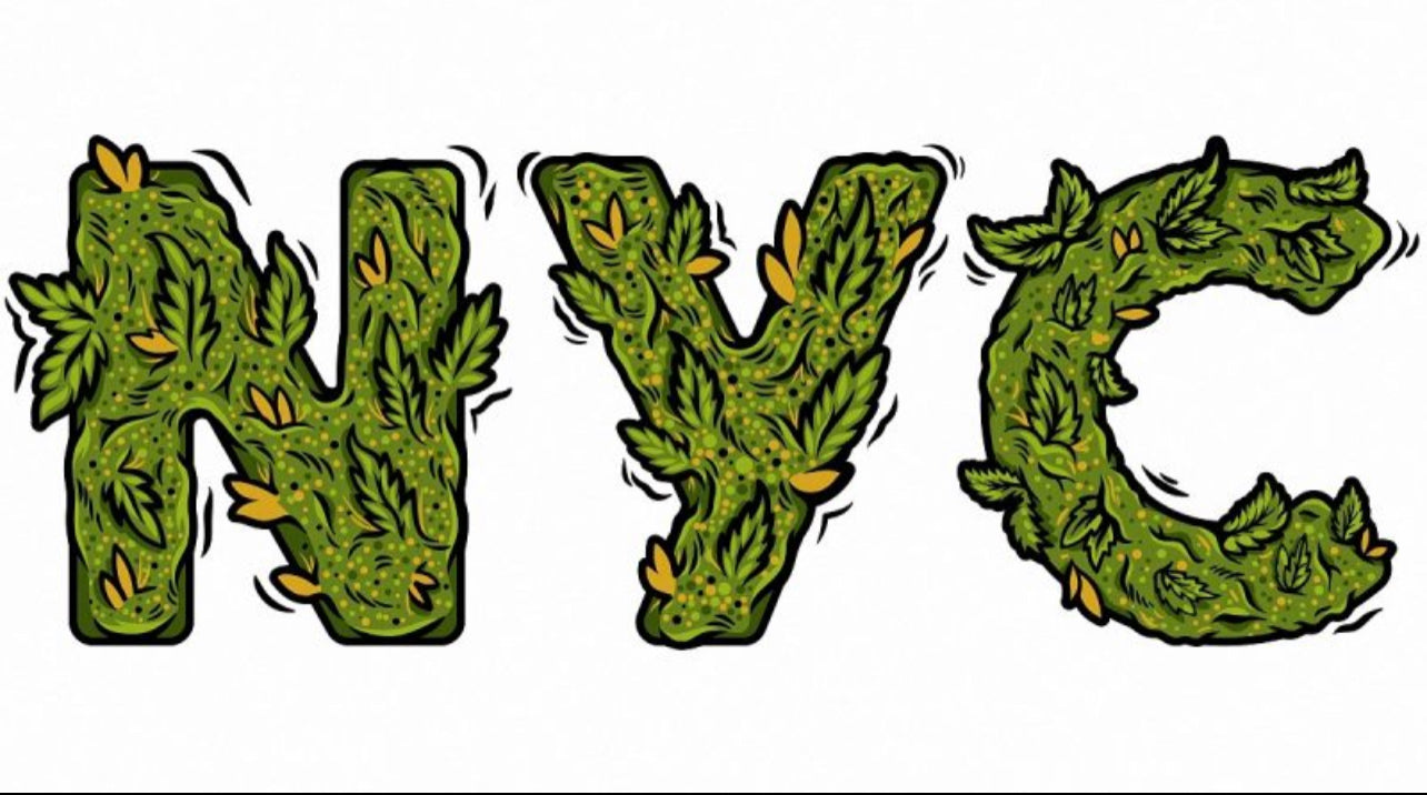 new york city letters illustration with cannabis leaves in white background