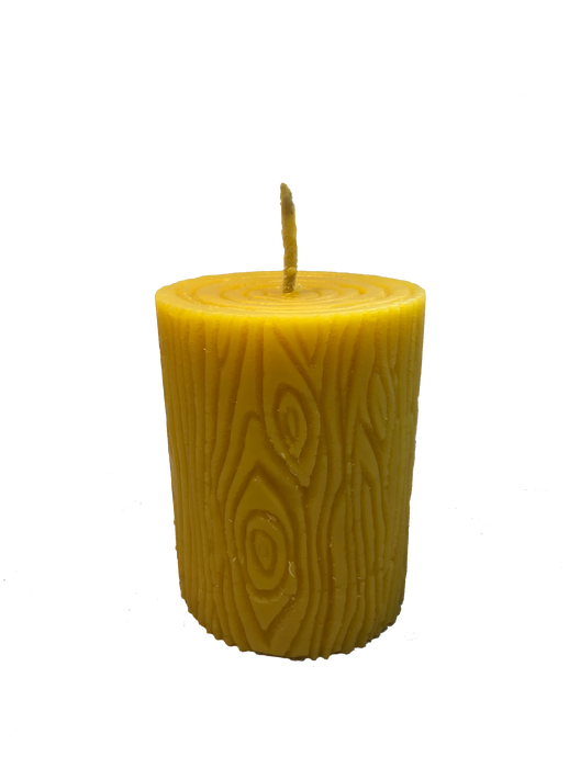 3in Pillar Beeswax Candle Wood Grained