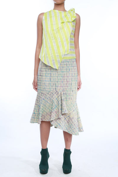 Asymmetric Flounced Tweed Skirt