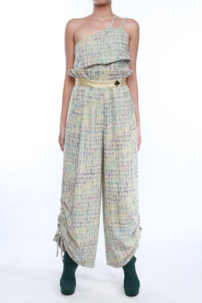 High Waisted Frilled Tweed Pants