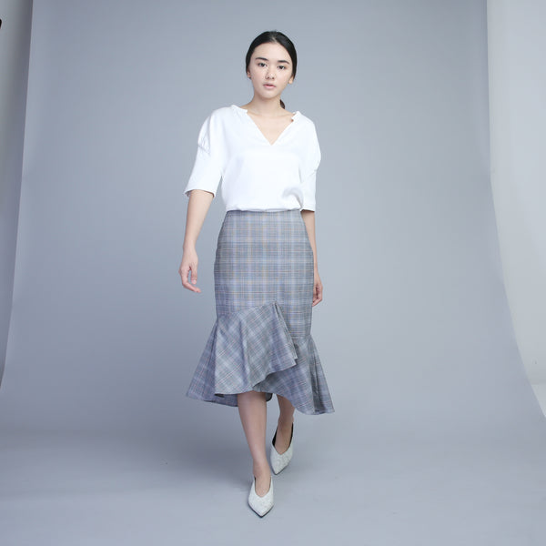Asymmetrical Checkered Flounced Skirt