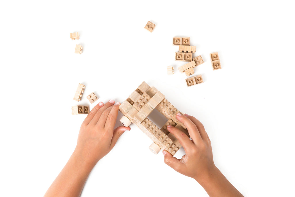 Eco-bricks™ Bamboo Blocks Pushing Toy Car Build