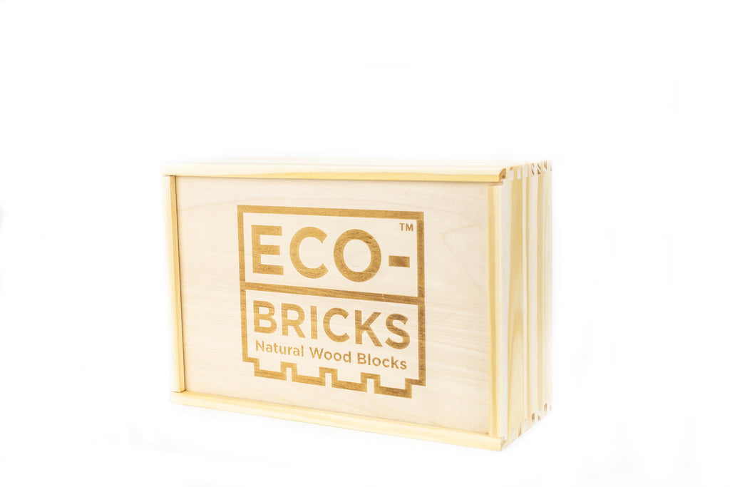 ecobricks bamboo 250pc large wooden box