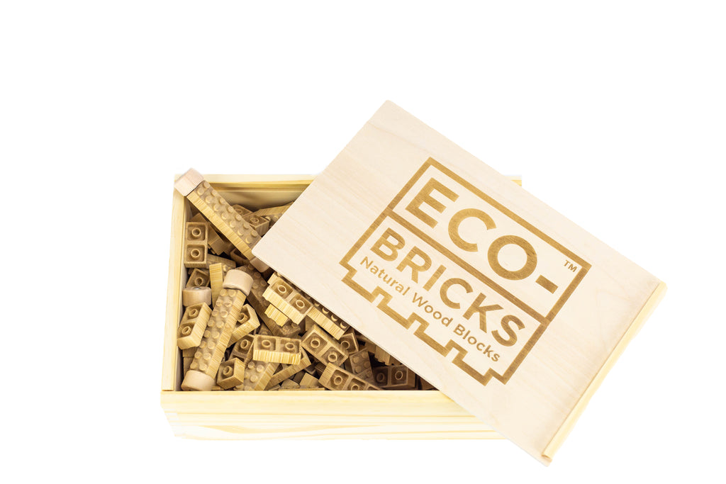 ecobricks bamboo 250pc set large open wooden box
