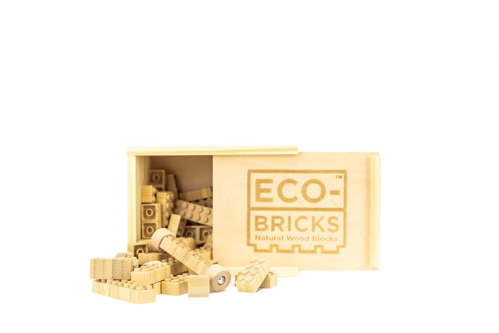 ecobricks bamboo 24pc build sets small wooden box