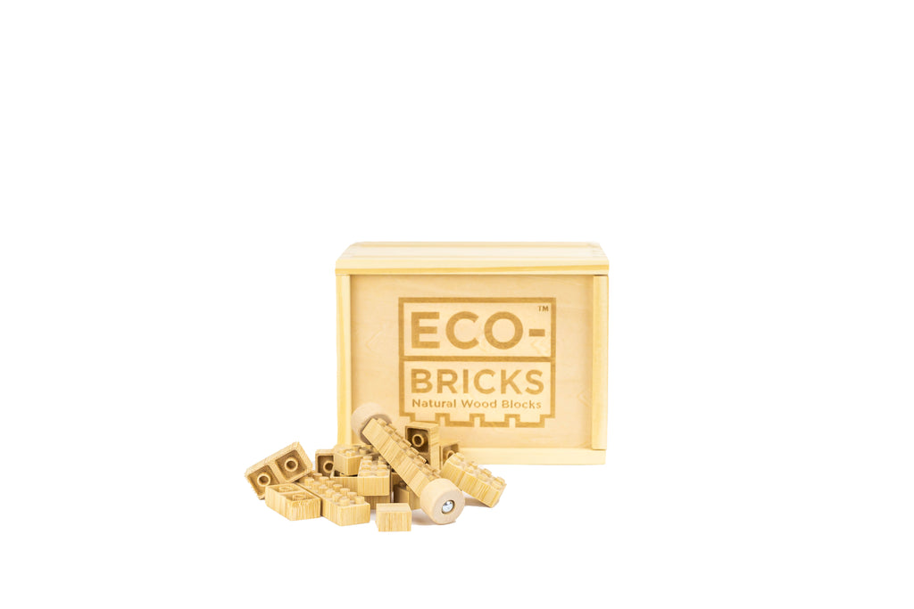 ecobricks bamboo 45pc closed wooden box