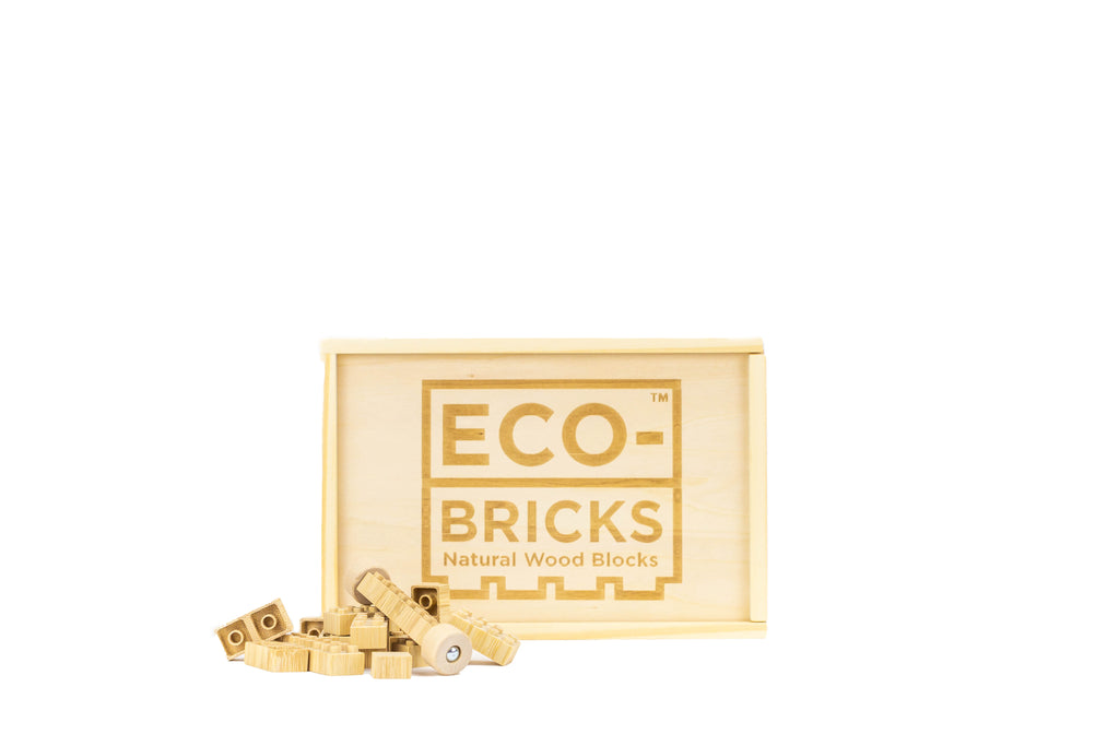 ecobricks bamboo 90pc medium wooden box bricks