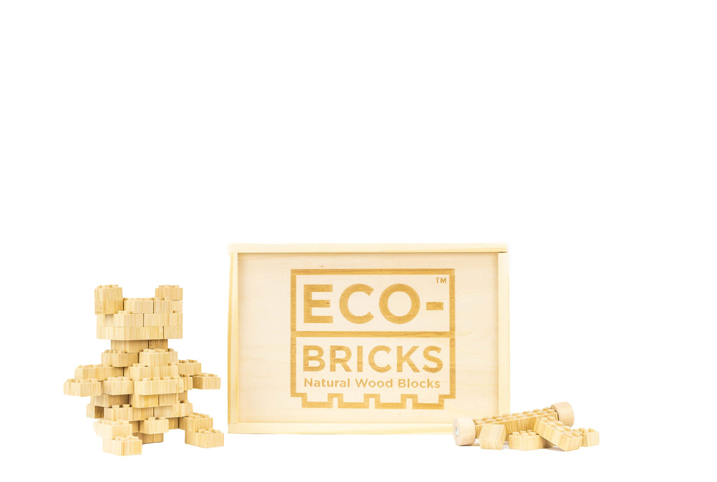 ecobricks bamboo 90pc medium wooden box build sets
