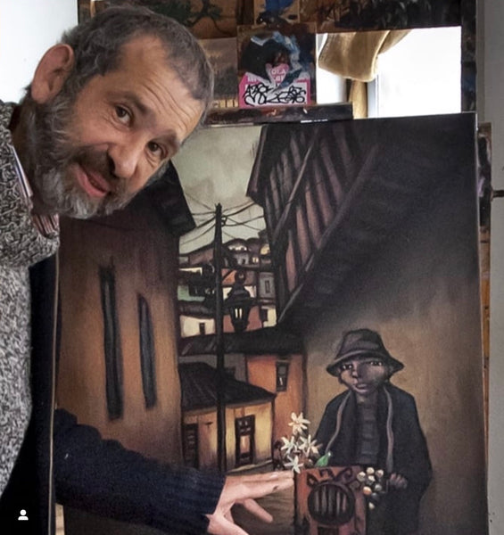 Eduardo Mena and his painting