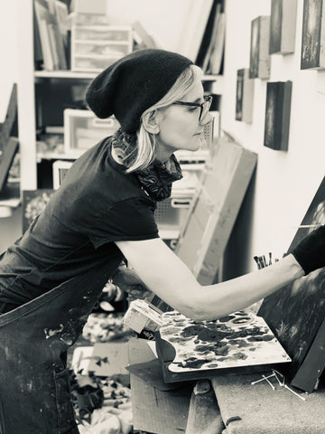 Linda Larson in the her studio