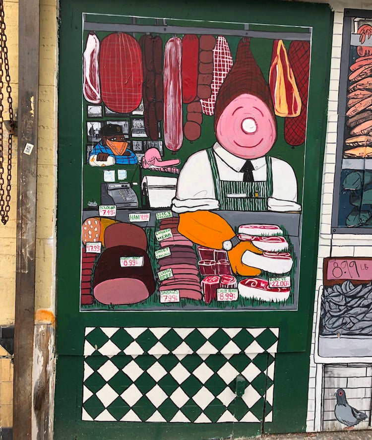 Chinatown murals in San Francisco, Meat packer