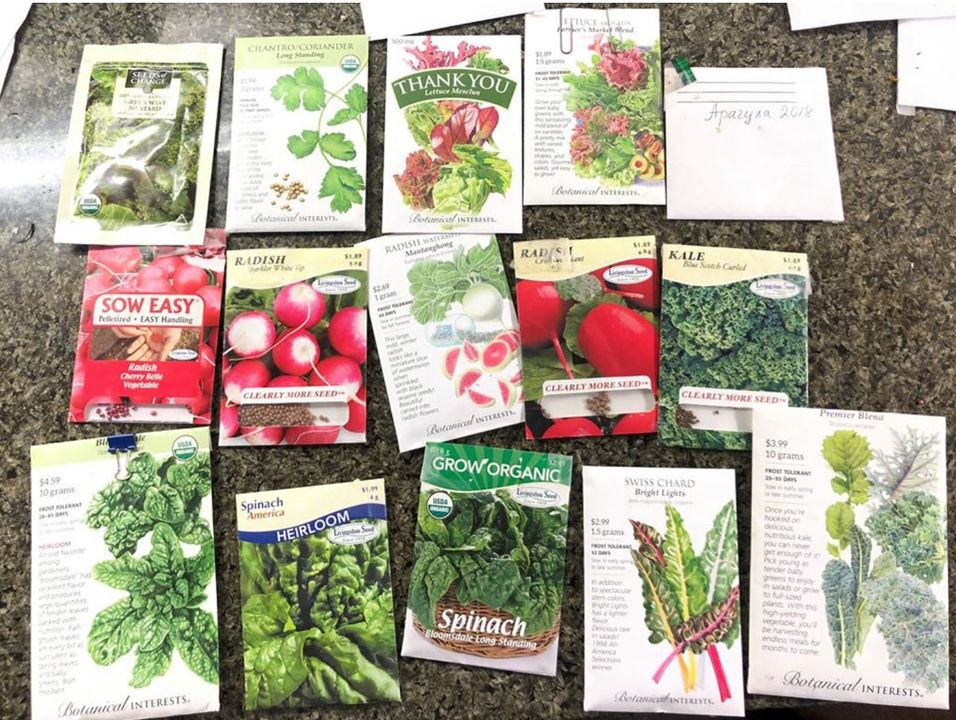 My seeds packets from Sprouts and other places