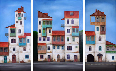 Georgian artist George Abramidze art for sale, oil.  Dancing, twisted houses series with balconies and red roofs. Triptych