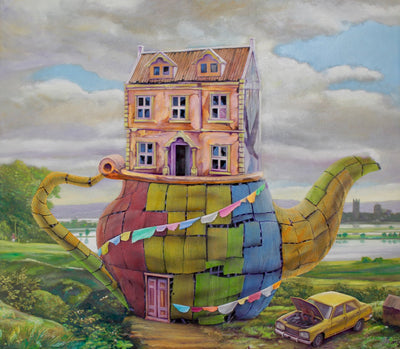 Dystopian art for sale by Lobsang Durney.  Surreal landscape with a teapot and broken car. Main view