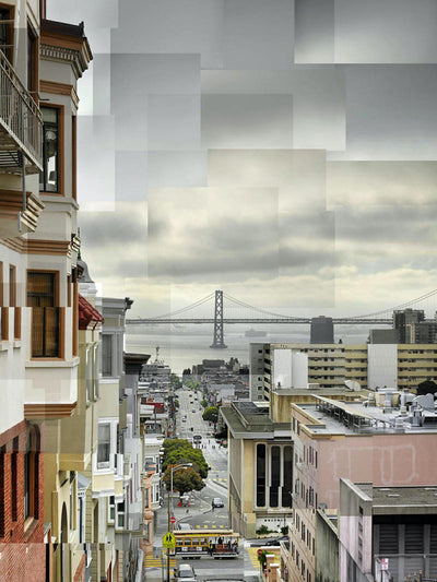 Pep Ventosa aluminum panel for sale, Cable Car Washington St in San Francisco and Bay Bridge