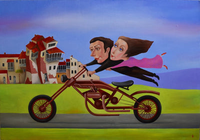 Georgian artist George Abramidze art for sale, oil.  A couple flying on a motorcycle through a city. Lovers