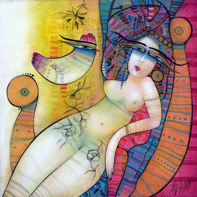 Albena Vatcheva art for sale. Cleopatre. Naked women listening to a bird