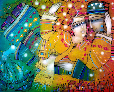 Albena Vatcheva art for sale. Ensemble. A loving couple flying above old eastern european village, like Chagall