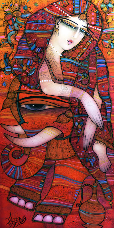Albena Vatcheva art for sale. Indian Dreams. A cute girl and red elephant