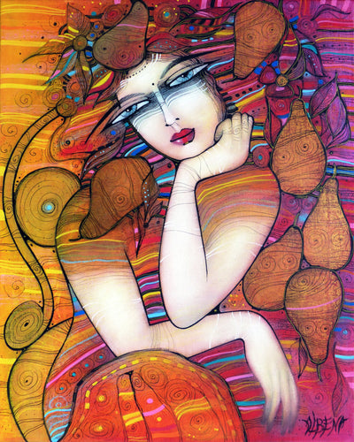 Albena Vatcheva art for sale. Pear Harvest girl with fruits, portrait