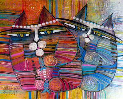 Albena Vatcheva art for sale.  Two Cats side by side portraits
