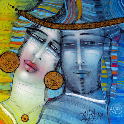 Albena Vatcheva art for sale.  You and Me.  A man and a woman side by side in love