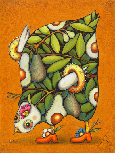 Children room art for sale by Ukrainian artist. Colorful and cute Avocado chicken eating seeds