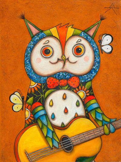 Children room art for sale by Ukrainian artist. Colorful and cute Kiev owl playing bass guitar