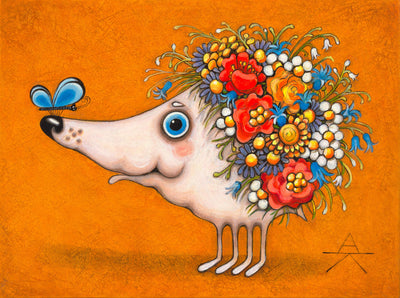 Children room art for sale by Ukrainian artist. Colorful and cute hedgehog covered with flowers