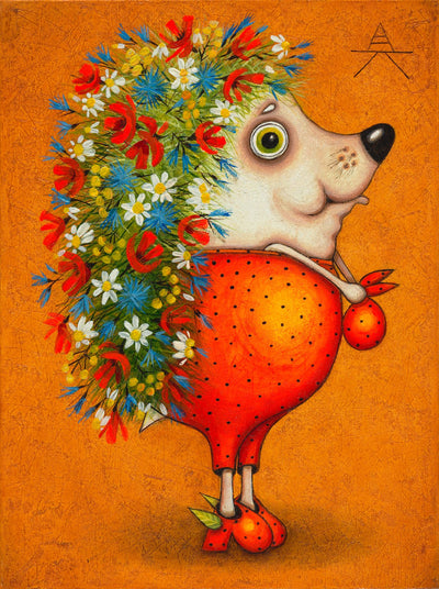 Children room art for sale by Ukrainian artist. Colorful and cute hedgehog