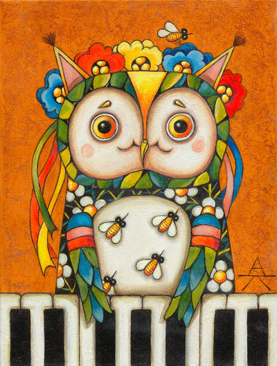 Children room art for sale by Ukrainian artist. Colorful and cute Kiev owl