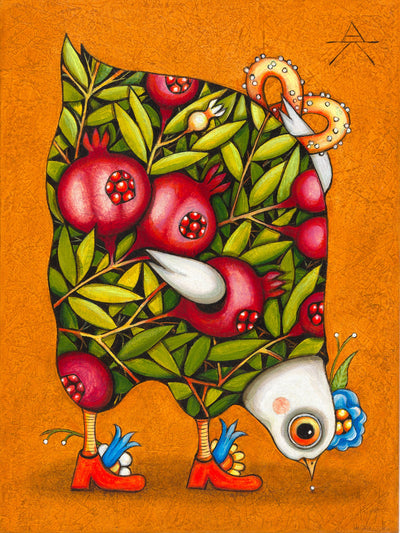 Children room art for sale by Ukrainian artist. Pomegranate chicken picking up seeds