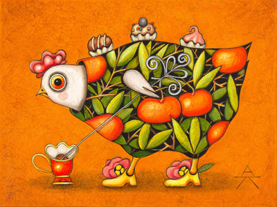 Children room art for sale by Ukrainian artist. Cute tangerine chicken picking up seeds with yellow background