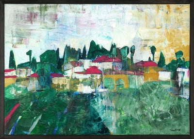 Intuitive painting for sale by Tavalina Aviel in acrylic.  Green painterly landscape in Israel with small houses on horizon