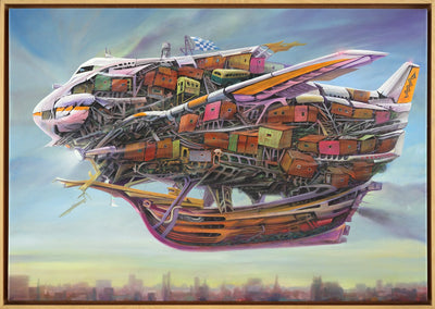 Dystopian art for sale by Lobsang Durney. Old Boeing 707 in a wooden ship flying in surreal city. Main view