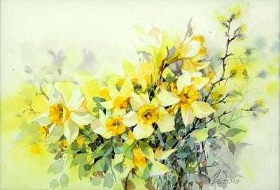 Watercolor garden art for sale by Inna Petrashkevich from Belarus. April sun flowers