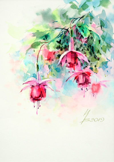 Watercolor garden art for sale by Inna Petrashkevich from Belarus. Bluebells fuchsia
