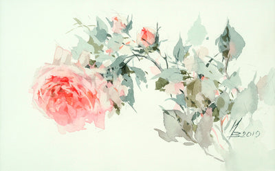 Watercolor garden art for sale by Inna Petrashkevich from Belarus. Single rose on white background